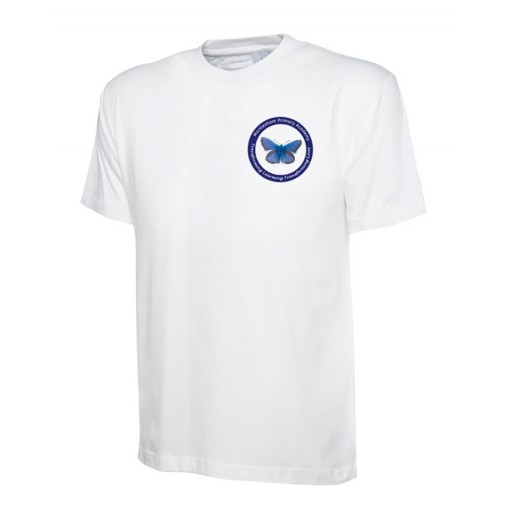 Children's White Branded Sports Performance PE T-Shirt