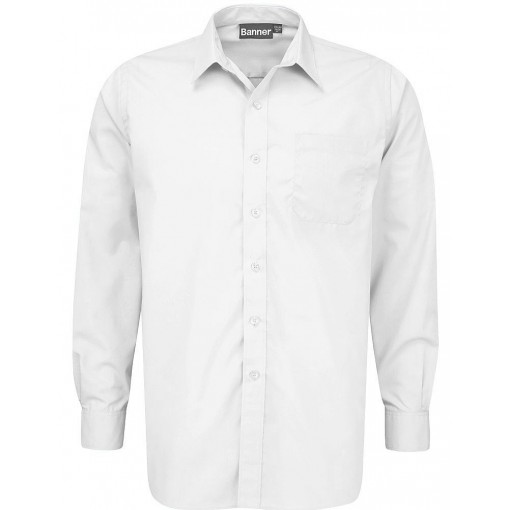 Boys Senior Long Sleeve White Shirts - 2 Pack