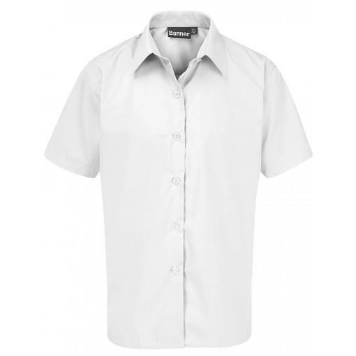 Girls Junior Short Sleeve White Blouses - 2 Pack